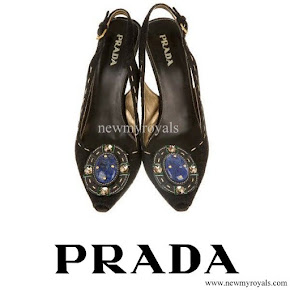 Crown Princess Mette-Marit wore Prada Jeweled Brooch Suede Pump