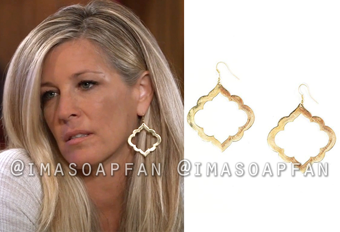 Carly Corinthos, Laura Wright, Gold Moroccan Earrings, General Hospital, GH