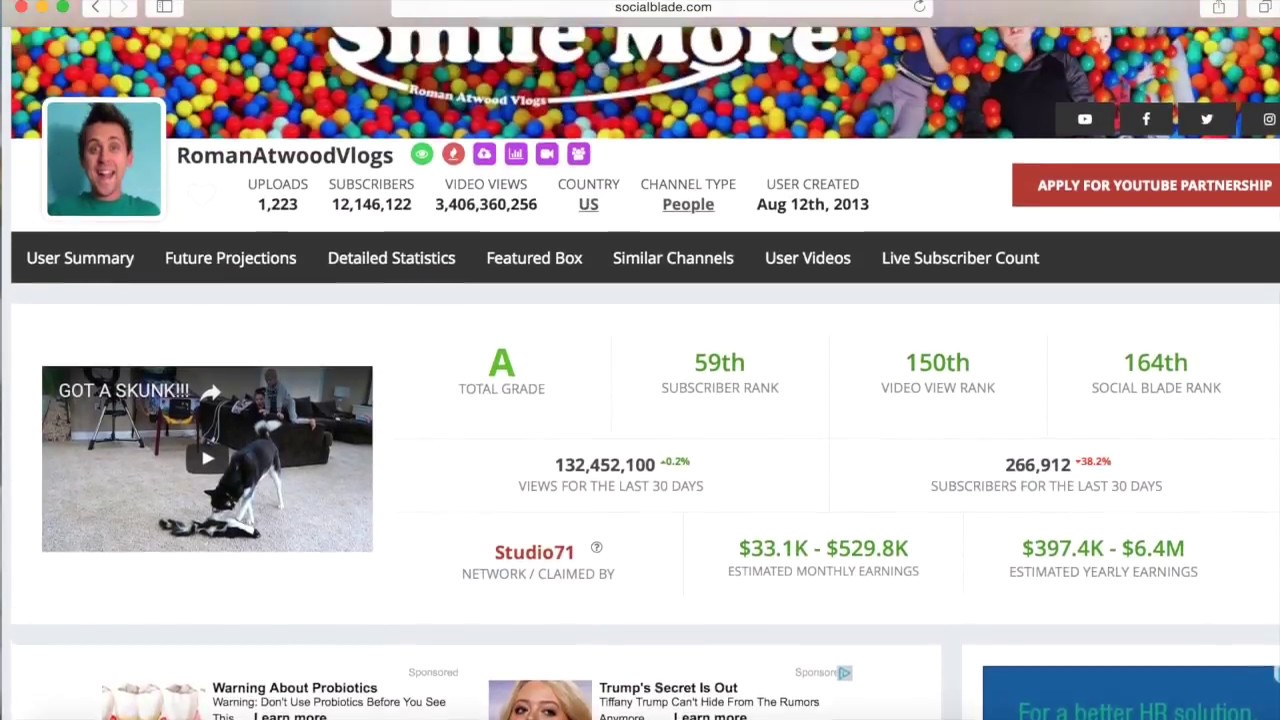 How Much Money Does RomanAtwood and RomanAtwoodVlogs Earn On