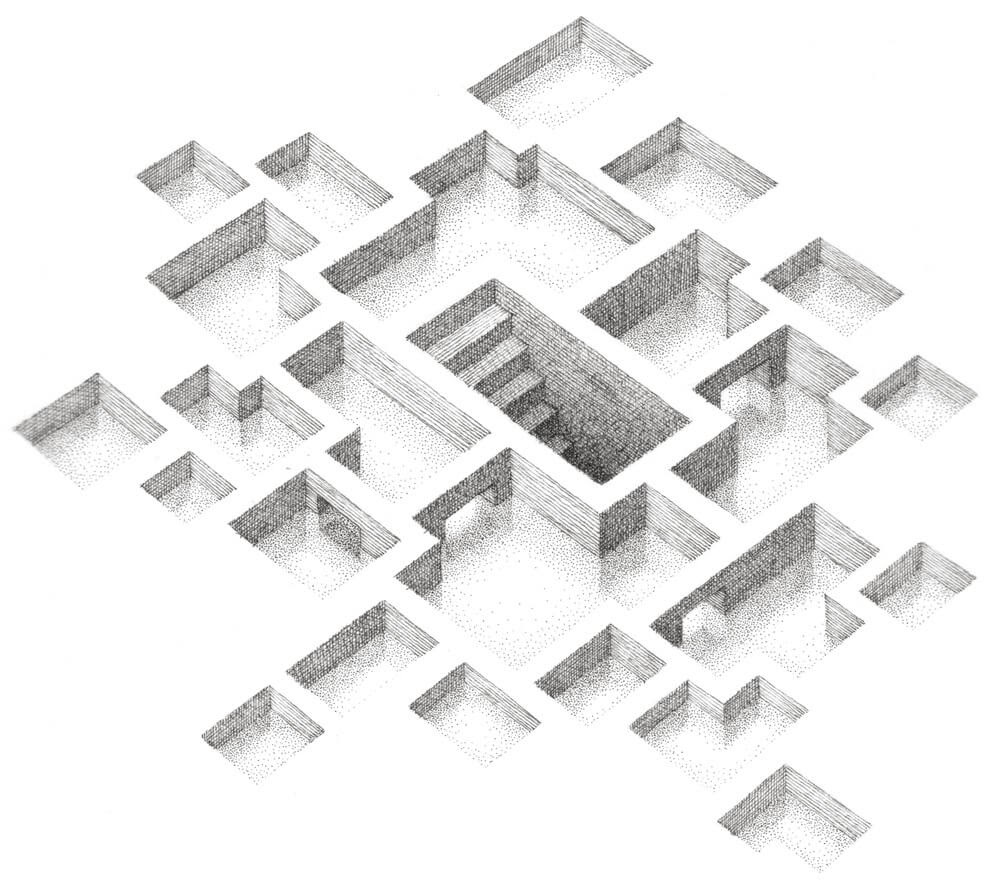 06-Flooded-Matt-Borrett-Hiding-in-a-Safe-Architectural-Labyrinth-Drawing-www-designstack-co