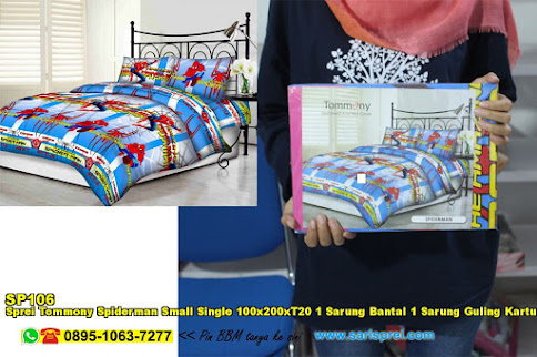 Sprei Tommony Spiderman Small Single 100x200xT20 1 Sarung Bantal 1 Sarung Guling Kartun Biru Anak Remaja