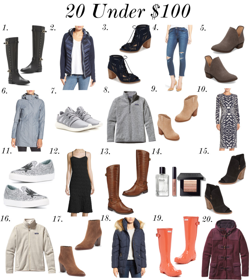 1. Vince Camuto Preslen – Studded Riding Boot | 2. Michael Michael Kors Mixed Media Hooded Down Jacket | 3. Vince Camuto 'Tarita' Cutout Lace-Up Sandal | 4. Joe's Icon Ripped Step Hem Crop Skinny Jeans | 5. Lucky Brand 'Bashina' Perforated Bootie | 6. The North Face Laney Novelty Trench Raincoat | 7. Adidas Originals Tubular Viral Sneakers | 8. Patagonia Women's Better Sweater® 1/4-Zip Fleece | 9. Splendid Suede Booties - 50% off! | 10. Maggy London Tie Dye Print Crepe Midi Sheath Dress | 11. Chiara Ferragni 'Flirting' slip-on sneakers | 12. French Connection Havana Sleeveless Lace Dress | 13. Bare Traps Corrie Riding Boots | 14. Bobbi Brown 'Beach' Set | 15. Vince Camuto 'Katleen' Peep Toe Bootie | 16. Patagonia Women's Better Sweater® Fleece Jacket | 17. Sam Edelman 'Blake' Bootie | 18. Larry Levine Quilted Coat With Faux Fur Trim | 19. Hunter Original Back Adjustable Glossy Boot | 20. Patagonia Women's Better Sweater® Icelandic Coat