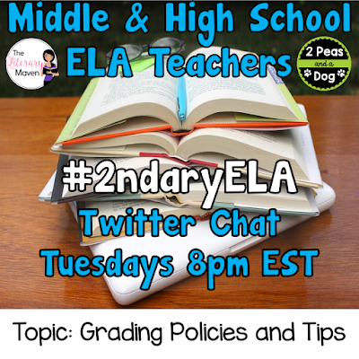 Join secondary English Language Arts teachers Tuesday evenings at 8 pm EST on Twitter. This week's chat will be about grading policies and tips.