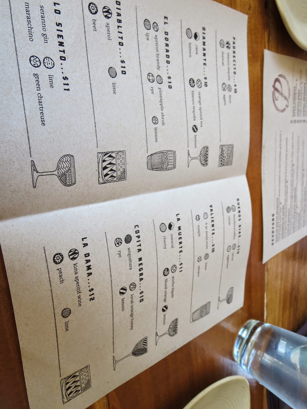 Cocktail menu at Padrecito