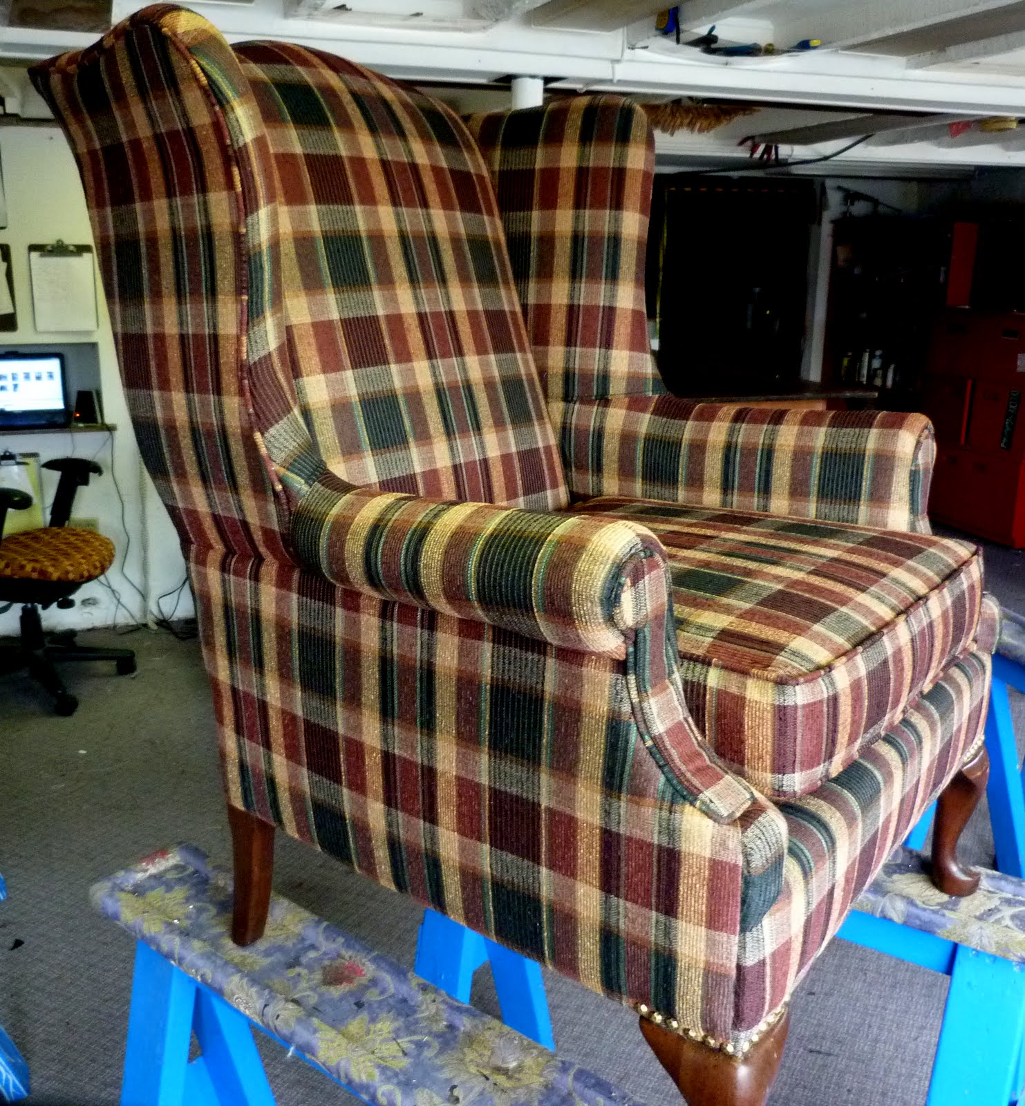 Practical Upholstery Design Studio Plaid Wing Back