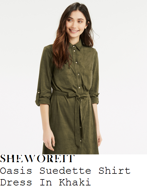 mollie-king-oasis-khaki-green-and-gold-three-quarter-sleeve-collared-button-up-tie-waist-textured-faux-suede-shirt-dress