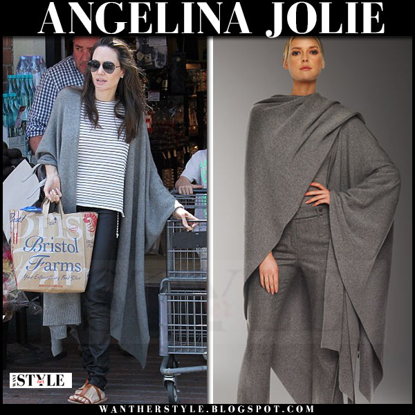 Angelina Jolie in grey long cardigan michael kors ruana what she wore streetstyle