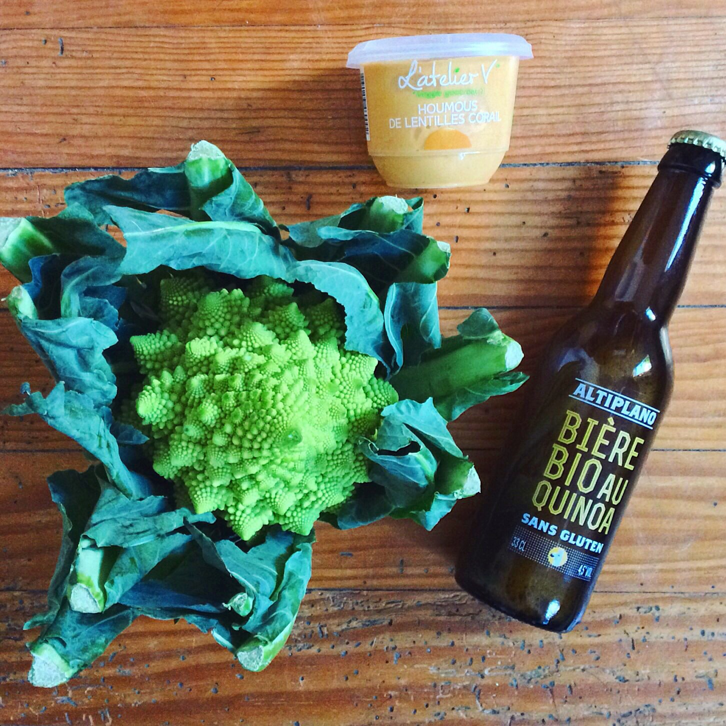 romanesco broccoli, quinoa beer, red lentil hummus