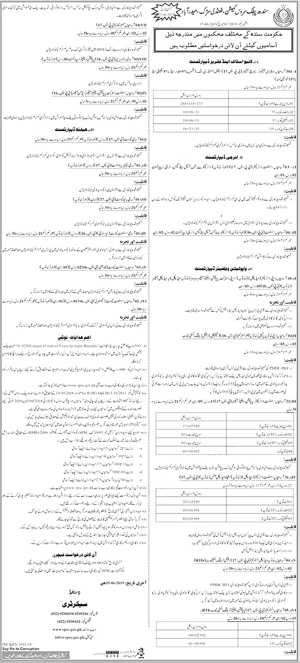 spsc jobs, spsc latest jobs, Sindh Public Service Commission SPSC Latest Jobs 2019 May