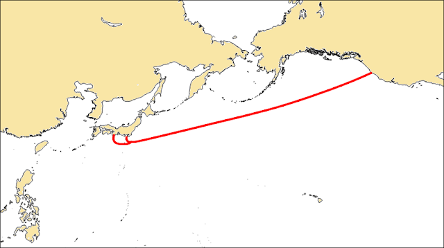 Map of the FASTER cable system's landing points in Japan and the US