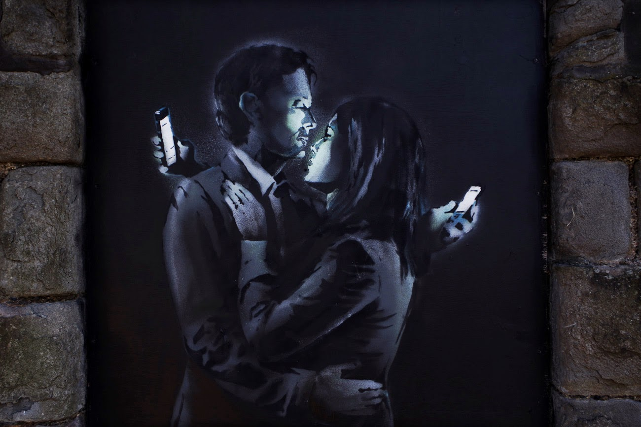 After appearing yesterday in Cheltenham, UK (covered), Banksy just updated his official website with two images from this brilliant new piece.