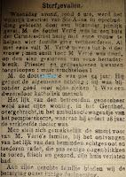 Krantenartikel overlijden dokter Charles Verté