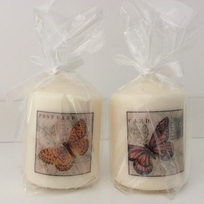 candles with transferred images