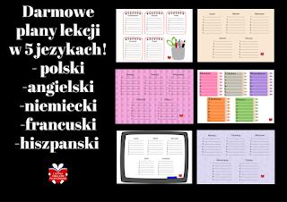 Darmowe plany lekcji do druku w 5 językach: polski, angielski, niemiecki, francuski, hiszpański.