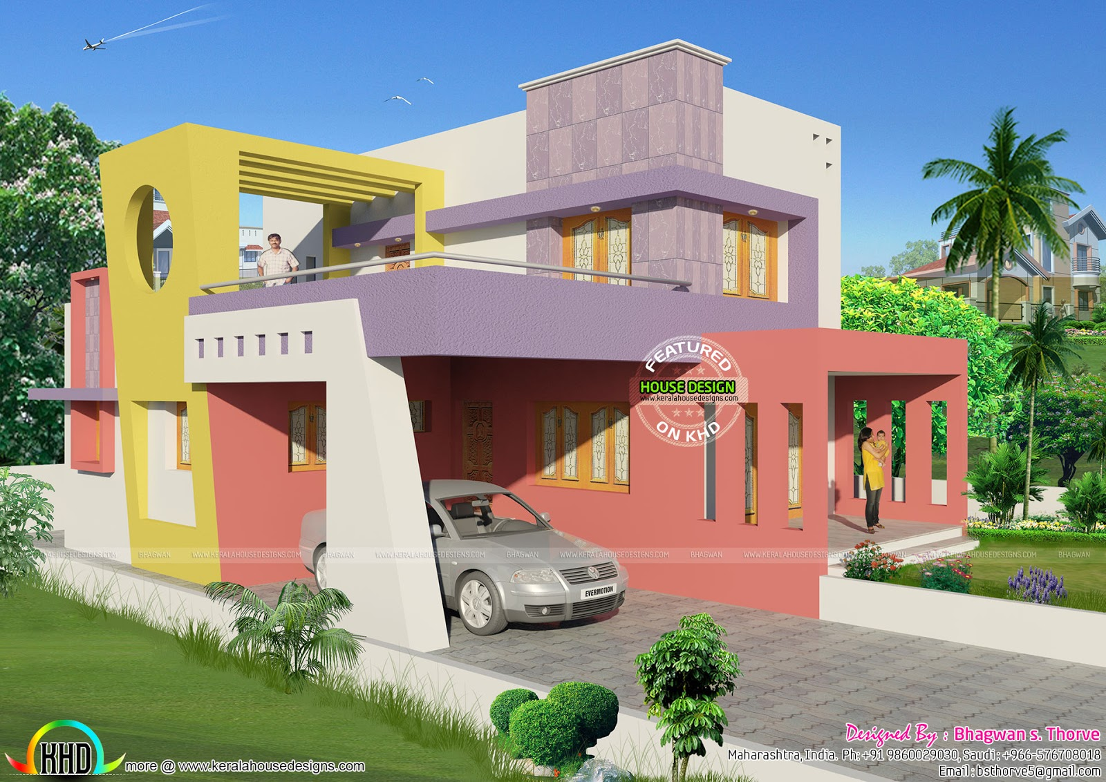 1750 Sq Ft Colorful Modern House Plan Kerala Home Design
