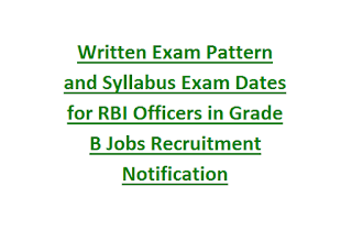 Written Exam Pattern and Syllabus Exam Dates for RBI Officers in Grade B Jobs Recruitment Notification Last Date 13-05-2017