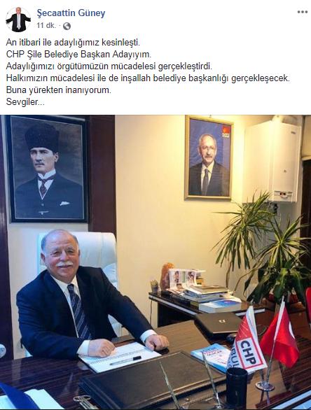 CHP Şile Belediye Başkan Adayı Ali Şecaattin Güney Oldu