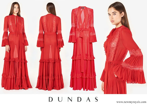 Queen Sonja wore Dundas Ruffled Silk Georgette Dress