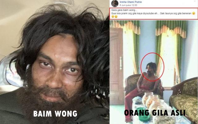 Wanita Ini Mengira Pria Ini Baim Wong Sedang Prank, Gak Tahunya Orang Gila Benaran