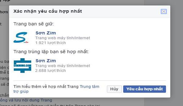 cách gộp 2 fanpage facebook thành 1