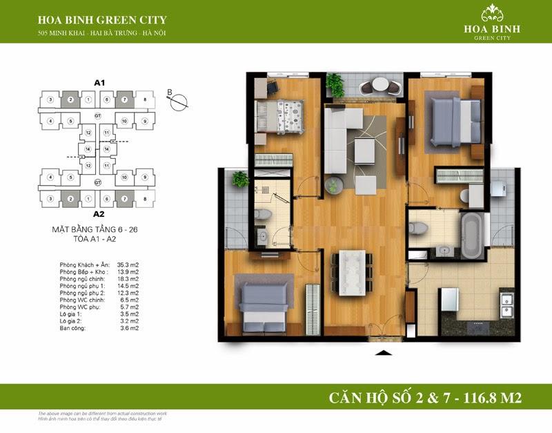 căn số 02 - 07 ( 116,8m2 ) chung cư Hòa Bình Green City