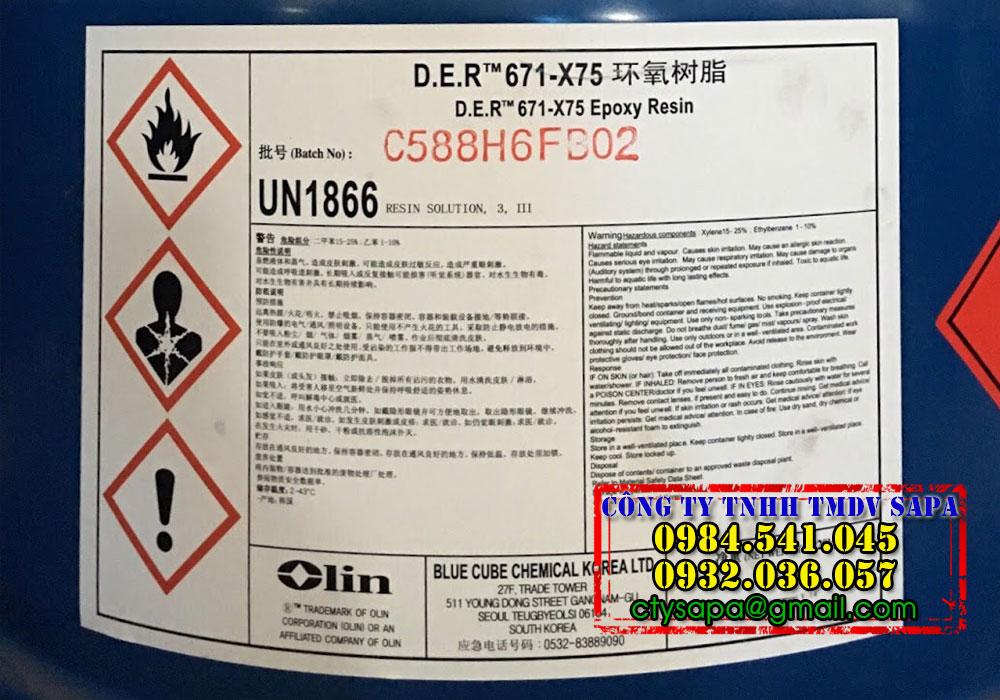Epoxy Resin DER 671-X75 nhựa làm sơn