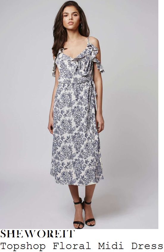 vicky-pattison-topshop-cream-and-blue-floral-print-cold-shoulder-ruffle-detail-wrap-midi-dress