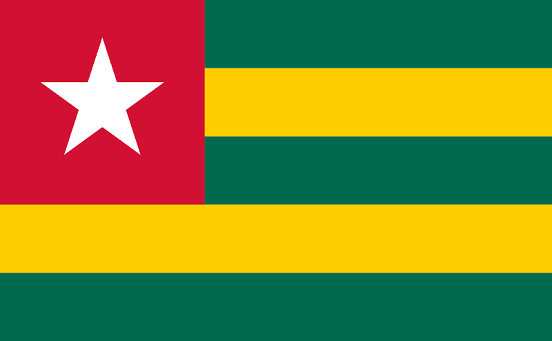 Logo Gambar Bendera Negara Togo PNG JPG ukuran 800 px