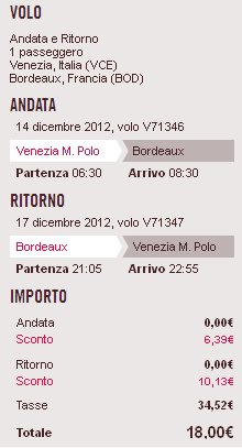 volo Venezia Bordeaux low cost