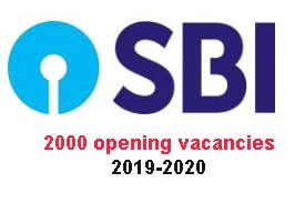 State Bank Of India 2019 jobs Apply online (2000 opening vacancies)