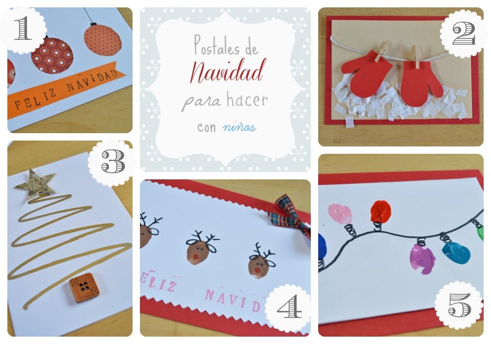 Educando a cuatro manualideas postales de navidad - Tarjetas de navidad faciles ...