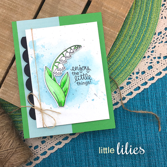 Lily of the Valley Flower Card by Jennifer Jackson | Little Lilies Stamp Set by Newton's Nook Designs #newtonsnook #handmade