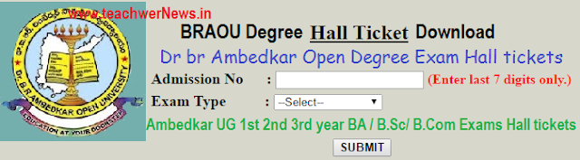 BRAOU Degree Exam Hall tickets 2018 - 1st 2nd 3rd year BA / B.Sc/ B.Com Exams Hall tickets