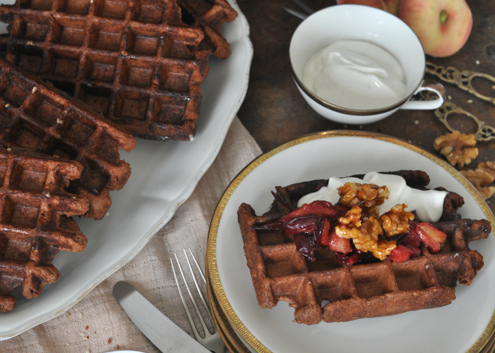 glutenfree Belgian Waffels with nuts and chocolate