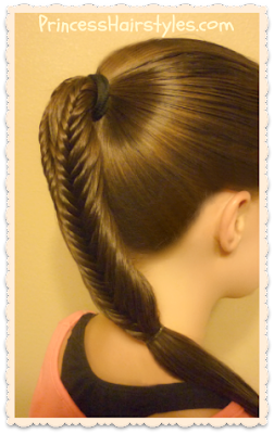 Back to school hairstyles.  Split fishtail braid ponytail.