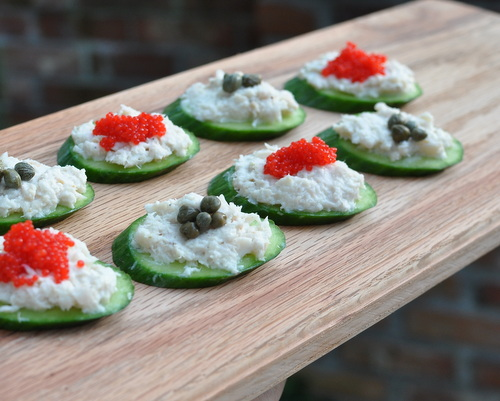Smoked Whitefish Spread on Cucumber Slices, another easy summer recipe ♥ KitchenParade.com. Low Carb. High Protein. Weight Watchers Friendly.