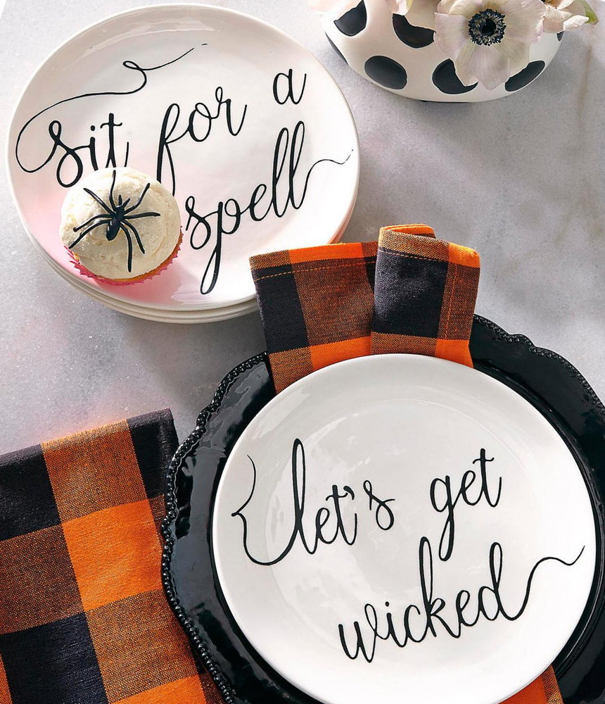 GRANDIN ROAD WITCHY WORD PLATES & NAPKINS