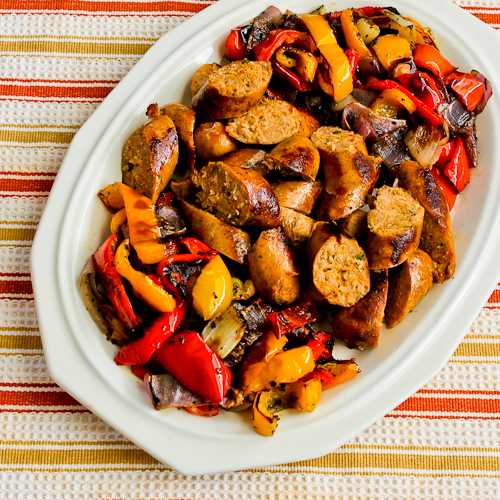 Roasted Red Bell Peppers and Red Onions with Turkey Italian Sausage