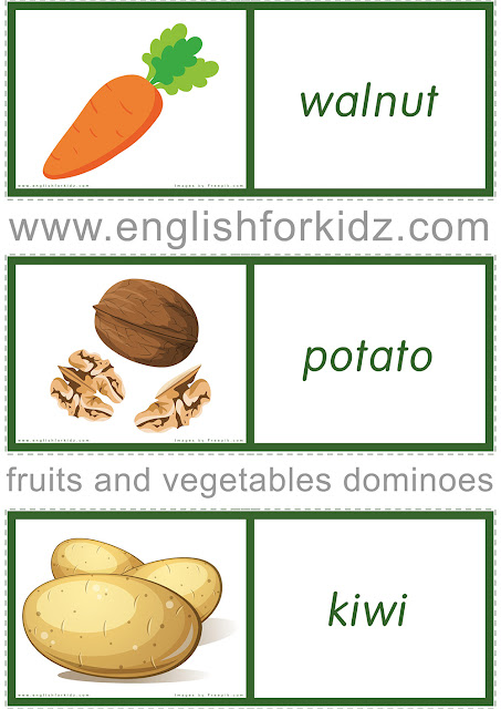 Printable dominoes game to learn fruits and vegetables vocabulary in English