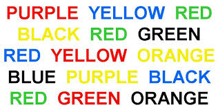 say the word and not the color game give it a try i bet you can not do it