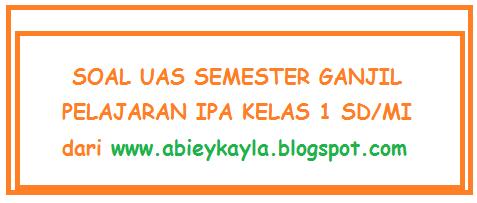 Soal Kelas 1 SD UAS Semester 1/Ganjil (25 PG,Isian)