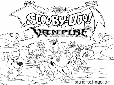 British gothic terror count Dracula vampire bat coloring pages Scrappy Doo and Scooby drawing sheet