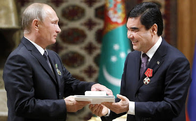 President of Turkmenistan Gurbanguly Berdimuhamedov presented Vladimir Putin with the Order for Contributions to Developing Cooperation.