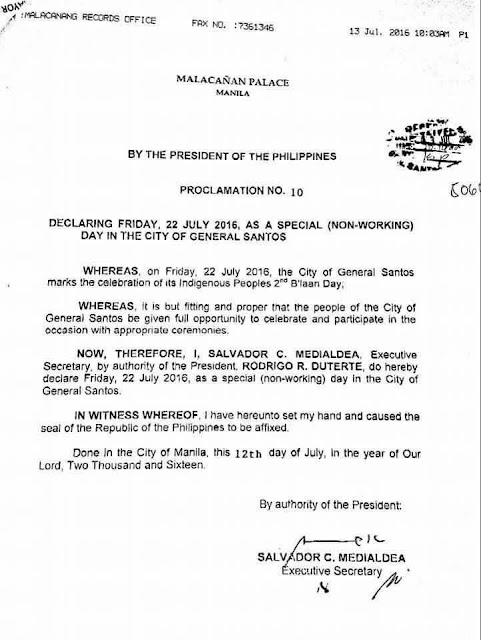 July 22 is Blaan Day in Gensan, a special non-working holiday