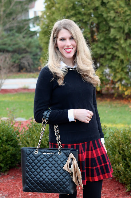 black jeweled collar sweater, white button up, red plaid skirt, booties, greg michaels tote