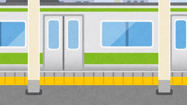 電車が来た駅のイラスト(閉じた状態・背景素材)