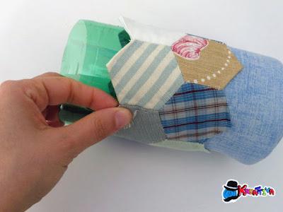 riciclo plastica per porta penne patchwork