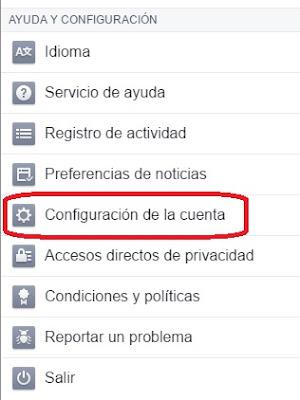 facebook configuracion de cuenta
