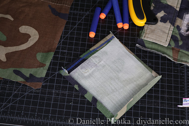 Creating a pocket from old fabric.