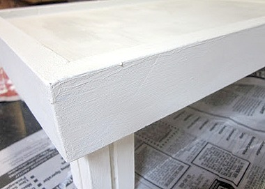 white distressed bed tray